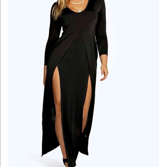 Boohoo maxi double slit dress
